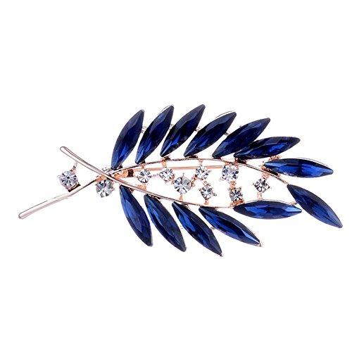 Demiawaking Elegant Brooch Sapphire Blue Leaves Crystal Rhinestone Brooch Pins Diamante Corsage Wedding Bouquet Decor for Women
