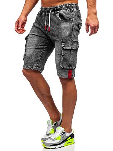 BOLF Hombre Pantalón Corto Pantalones Vaqueros Denim Shorts Bermudas Estampado Pantalón de Algodón Estilo Diario Red Fireball HY657 Negro XL [7G7]