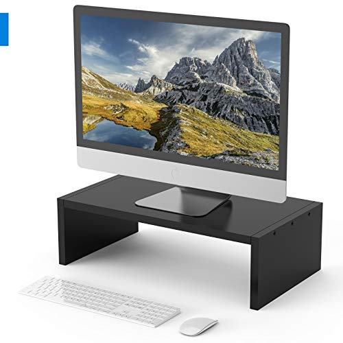Monitor Stand Riser Wood Computer Riser Desk Stand with Storage Organizer Laptop PC Monitor Stand Desktop Ergonomic Monitor Stand Riser for Computer Monitor iMac Stand or Computer Shelf (Black)