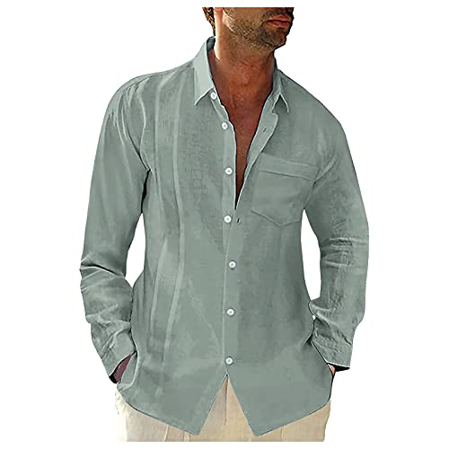 BIBOKAOKE Overhemd voor heren, linnenlook, vrijetijdshemd, comfort, lange mouwen, buttondown, zomerhemd, lange mouwen, businesshemd, strandhemd, regular fit, mannen, T-shirt, dun, ademend hemd, Groen 41, M