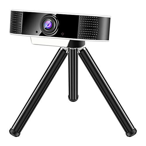 Padgene Webcam 1080P Full HD mit Mikrofon, PC Laptop Kamera Plug and Play USB Webkamera mit Einstellbarer Befestigungsclip für Videokonferenz, Streaming, Studieren, Skype, YouTube(S2 Weiß)