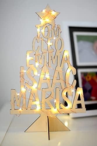 Decoración navideña personalizada Regalos personalizados de madera Árbol de madera con el nombre de la familia con luz LED Decoración navideña, regalo único para las vacaciones de Navidad