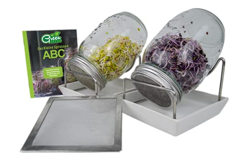 Green SEEDS Sprossenglas Keimglas 2er Set + Kressesieb | 1000ml mit hochwertigem Edelstahl-Gitterdeckel, Ständer, Keramikschale + Sprossen-ABC [Druckversion]