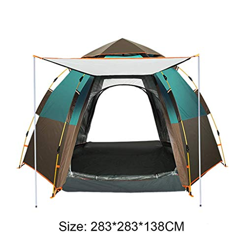 BRISEZZ Hexagonal Tent Outdoor Camping Tent 5-8 Person Pop Up Tent with Large Space for Camping/Beach/Hiking/Backpacking Mountaineering,283 * 283 * 138cm,3 HRTT (Color : 1)