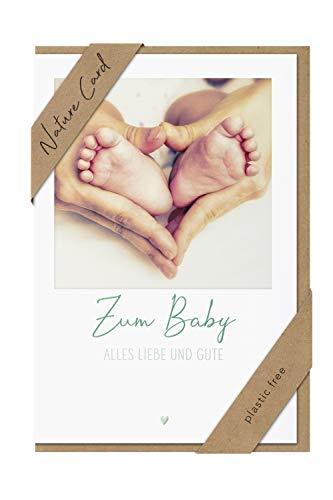 bsb Tarjeta de felicitación de nacimiento, tarjeta de felicitación para nacimiento, tarjeta natural, pies de bebé en manos, sobre papel kraft
