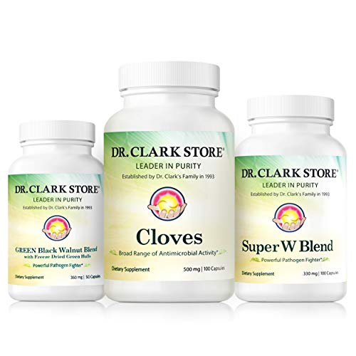 Dr. Clark Store Dietary Supplement Kit | Parasite Cleanse with Black Walnut Hull, Wormwood, and Cloves - Helps Reduce Gas and Bloating, Supports Immune Strength, and Promotes Digestive Health