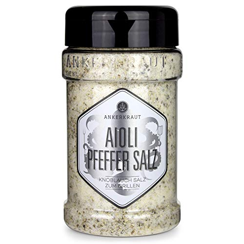 Ankerkraut Aioli-Pfeffer Salz, für Aioli-Butter, Finisher-Salz, 310g im Streuer