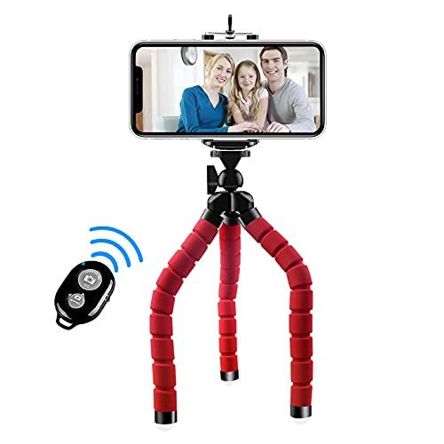 Abafia Trípode de teléfono, [actualizado] Mini trípode de Viaje Flexible para Smartphone Cámara Deportiva Gopro Teléfono Celular Soporte Ajustable 5.5' Obturador Remoto inalámbrico Bluetooth (Rojo)