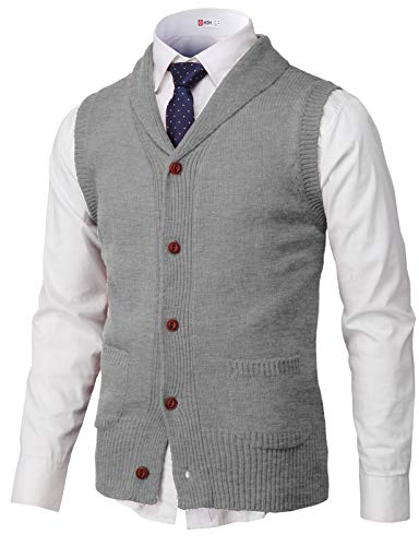 H2H Mens Casual Shawl Collar Button Down Pullover Vests Gray US L/Asia XL (CMOV048)