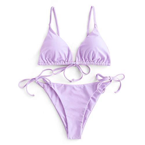 ZAFUL Damen Gepolstert Bikini Set, Einfarbig Bikini Badeanzug mit Dreieck Cup Spaghetti-Träger (Violett, M)