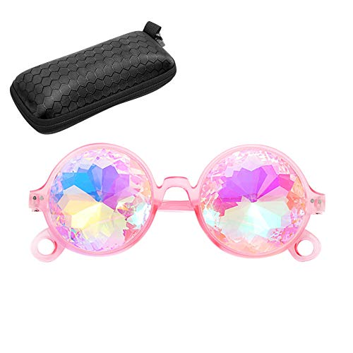 ANBET Occhiali da sole caleidoscopio arcobaleno con custodia in vetro a doppia faccia occhiali vintage per concerto elettronico, Steampunk, pista da ballo, festa
