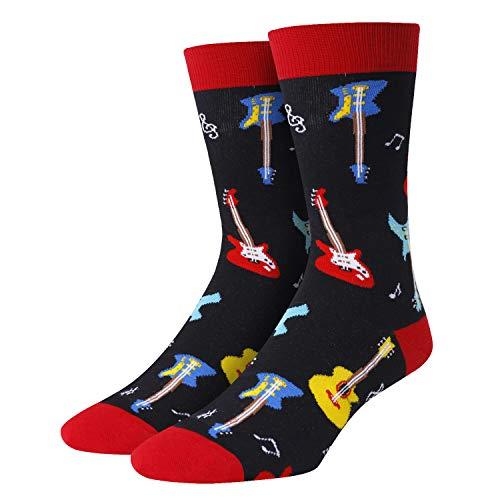 SOCKFUN Herren Socken mit Gitarre & Klaviertrommel, Musiknoten, Geschenk für Musikliebhaber - - Medium