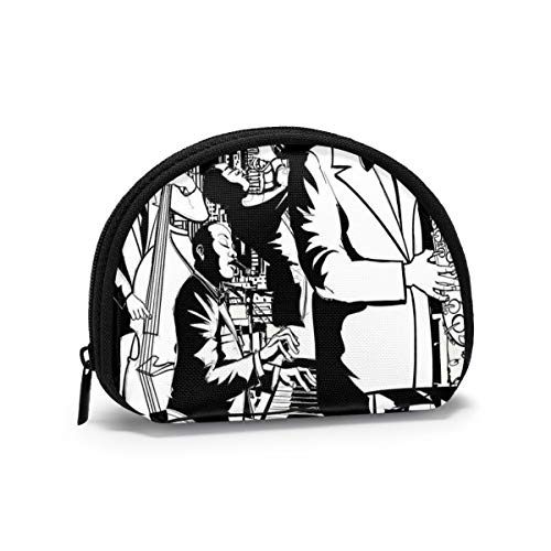 Jazz Concert Band Playing Saxophone Double-Bass Trumpet And Keyboard At Night Women and Girls Small Mini Oxford Fabric Cloth Bag Wallet Printed PU Leather Travel Wallet