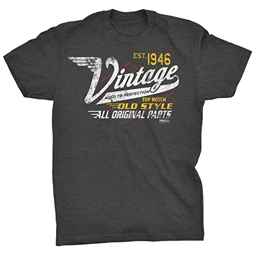 ShirtInvaders 75th Birthday Gift Shirt for Men - Vintage 1946 Aged to Perfection - Racing-Dk. Heather-Md