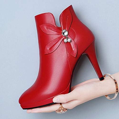 HOESCZS Stiefel Damen damen& 039;s Herbst Und Wintermodelle Wiesen Hochhackige Stiletto Stiefel Auf Einfache Dicke Damenschuhe