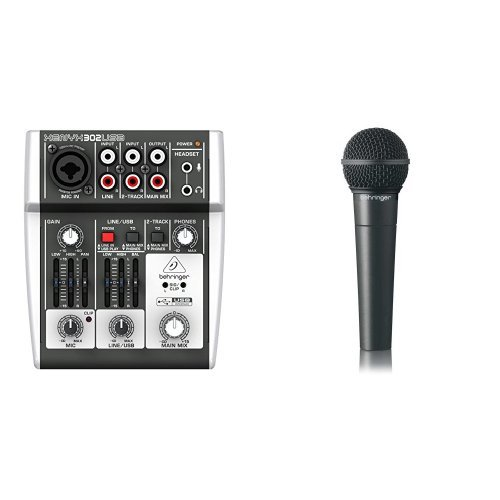 Behringer XENYX 302USB 5-Input Mixer mit XENYX Mic Preamp und eingebautem USB Audio Interface + Behringer Ultravoice XM8500 Dynamisches Gesangsmikrofon mit Nierencharakteristik Bundle