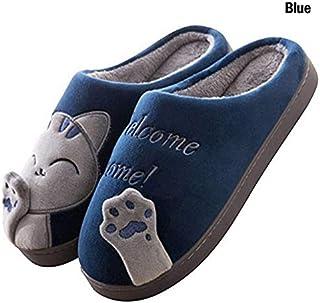 YANGLAN Ladies Men's Couples Shoes Winter House Slippers Cartoon Animal Cats Slip Warm Indoor Bedroom Floor Slippers Household slippers (Color : E, Size : (44-45))