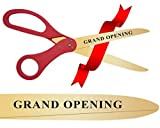 30 Inch Long Gold Color Steel Blades & Engraved - Grand Opening Ribbon Cutting Scissors (Red Handles)