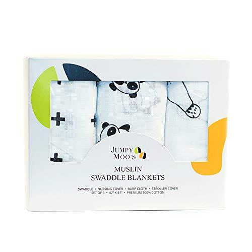 Babydecke aus 100% Bio-Baumwolle, Musselin-Wickeltuch/Kuscheldecke | 3er-Pack - Groß, 120 x 120 cm | Atmungsaktiv, vielseitig verwendbar, superweich | Unisex-Babydecken | Geschenk-Box