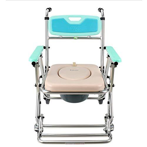 OSL Silla de ruedas plegable ligera Conducción médica, silla cómoda Silla de silla de ruedas Silla con ruedas Silla de baño plegable Altura ajustable del asiento Vagón OSL