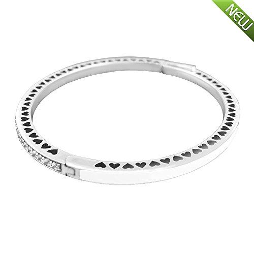 PANDOCCI 2017 Frühlings-Prinzessin weißes strahlendes Herz mit Emaille u. Freie CZ authentisches 925 Sterlingsilber-Armband-Armband DIY Schmucksachen (17.5CM)