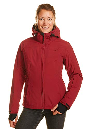 Jeff Green Damen Atmungsaktive wasserdichte Winter Ski Snowboard Jacke Kerava 12,000mm Wassersäule und Abnehmbare Kapuze, Größe - Damen:44, Farbe:Biking Red