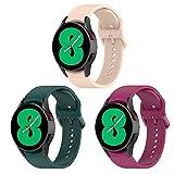 BexidoIera Cinturino compatibile con Samsung Galaxy Watch 4 (40 mm/44 mm)/Galaxy Watch 4 Classic (42 mm/46 mm), [3 pezzi] 20 mm morbido silicone Sport cinturino di ricambio per Galaxy Watch 4