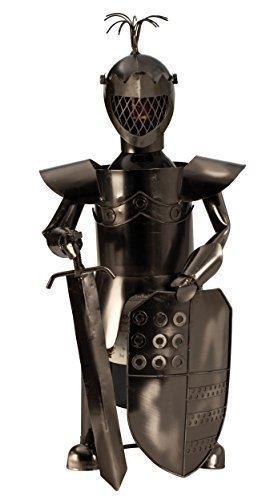 Moderner Wein Flaschenhalter Flaschenständer Ritter mit Schild und Schwert aus Metall in Silber Höhe 39 cm