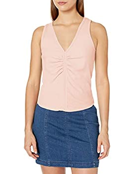 Tresics Women s Trendy Basic Junior Sleeveless Fitted Top with Shirring Detail in Front Faded Mauve Large