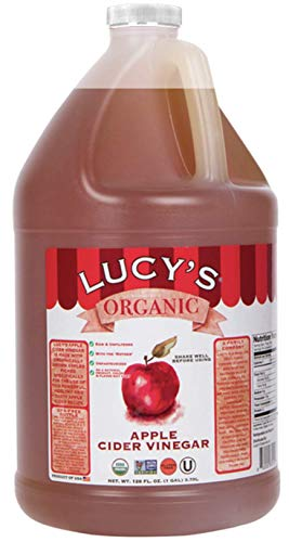 Lucy's Family Owned - USDA Organic NonGMO Raw Apple Cider Vinegar, Unfiltered, Unpasteurized, With the Mother, (Gallon)