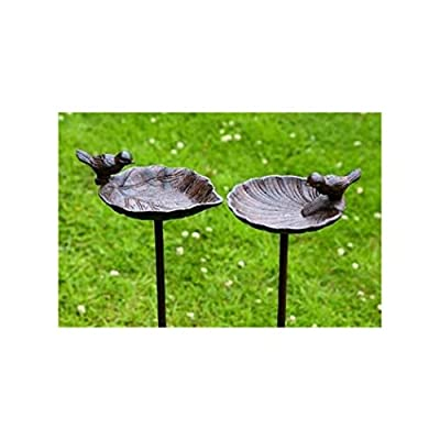 Bird Bath on Stake for the Garden made of Cast Iron - 2Different Designs, 1 Piece, 20x 14cm x 98cm by Boltze Gruppe