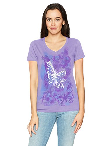 Hanes Women's Short Sleeve Graphic V-neck Tee (multiple graphics available), Big Butterfly Impression/Salty Purple, Large
