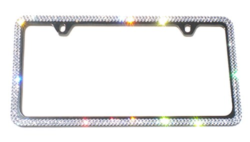 Cool Blingz 2 Row Crystal License Plate Black Frame 2 Holes Rhinestone Bling Made with Swarovski Crystals -  SW2Crys20B2H