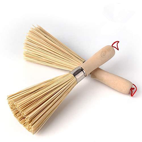 Sansheng 2PCS Frying pan Brush, Kitchen Cleaning Brush, Bamboo Kitchen pan Brush, FPR pan Handle Cleaning Brush, Bamboo pan Brush, Pot Brush, Pot Brush Cleaning