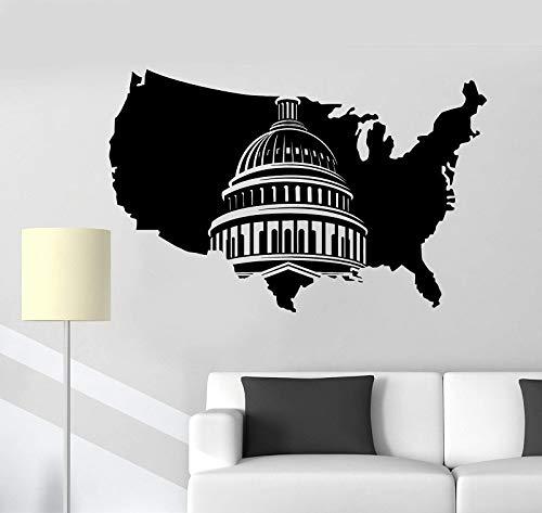 Pow muurstickersvinyl muur sticker Usa kaart Verenigde Staten Washington Capitol Art Sticker muurschildering woonkamer slaapkamer Home Decor65x42cm