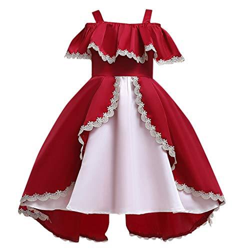 Sayla Filles Ruffle Sleeve Off éPaule Dentelle Robe De SoiréE Robe Maxi Dress, Halloween/Veille De NoëL/NoëL/FêTe D'Anniversaire/Bar,3-9Ans