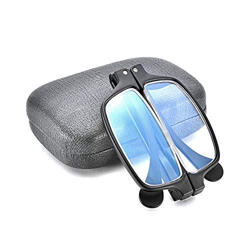 Leesbril Mannelijke En Vrouwelijke Leesbril, Opvouwbare Draagbare High-Definition, Anti-Blauw Licht, Geen Duizeligheid, Veraf En Dichtbij Tweeledig Doel, Glazen Comprimering Case,Black,+2