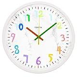 HOSTON Reloj de Pared Grande de diseño Moderno de 30 cm, Reloj de Pared silencioso Digital con Pilas, Utilizado en la Sala de Estar, la Cocina, la habitación de los niños (mármol Blanco)