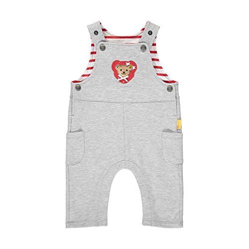 Steiff Baby-Mädchen mit süßer Teddybärapplikation Latzhose, Soft Grey Melange, 050