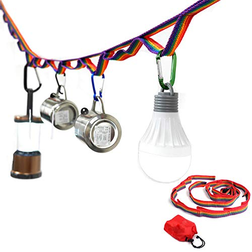 CZ-XING Colorful Tent Hanging Lanyard Cord,Camping Lantern Clothesline Tent Decoration Lights Long Rope Band Storage Bag Used for Picnic BBQ Tent Accessories Hanging Storage Belt