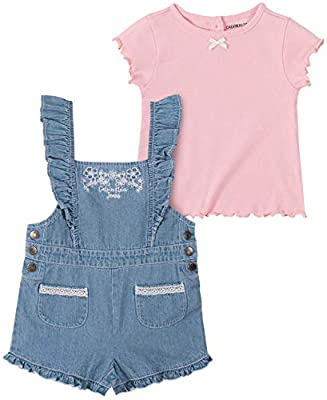 Calvin Klein Girls' 2 Pieces Shortall Set, Pink/Denim, 3T