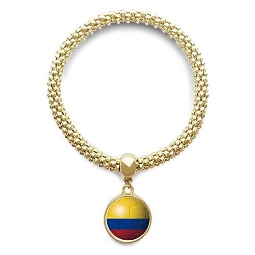 DIYthinker Cadena de joyería de fútbol Colombia de fútbol de la Bandera Nacional de Oro Pendiente Redondo de Pulsera