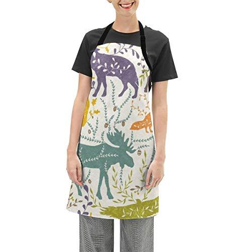 Delantales para mujeres, hombres y niñas, diseño de cintura de cocinero a medida para barbacoa, ajustable, impermeable, con patas de calzado, animales de montaña.