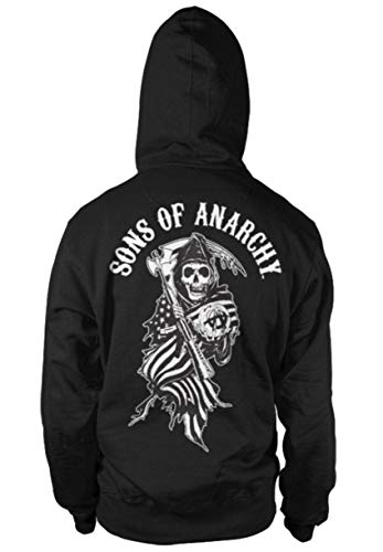Sons of Anarchy SOA American Reaper Reißverschluss Kapuzenpullover (Schwarz), X-Large
