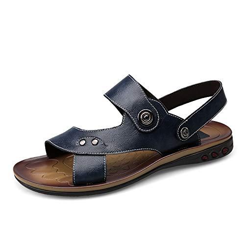 Sandalias de los hombres Zapatos for caminar trekking sandalias de cuero con puntera abierta de verano al aire libre de los hombres Acampar que se arrastra de reproducción ( Color : Blue , Size : 47 )