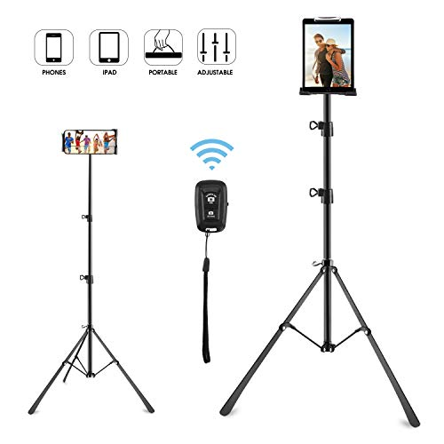 Phone Tripod Stand, Phone and Tablet Floor Stand Holder Portable Height Adjustable 20 to 50 Inch 360° Rotation for All 4-12 inch Phones and Tablets