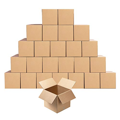 Small Cardboard Shipping Boxes Mailers 5x5x5 inches Corrugated Packing Storage Cube Kraft Mailing Box, Pack of 25