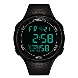 Hombres Relojes, Allskid Deportes Impermeable Luminoso Multifuncional Intemperie Digital Electrónic Moda Relojes de Pulsera (45mm, Negro)