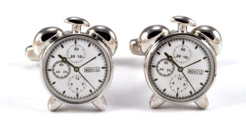 Gemelolandia | - Gemelos reloj despertador de forma redonda, color blanco Gemelos Originales Para Camisas | Para Hombres y Niños | Regalos Para Bodas, Comuniones, Bautizos y Otros Eventos