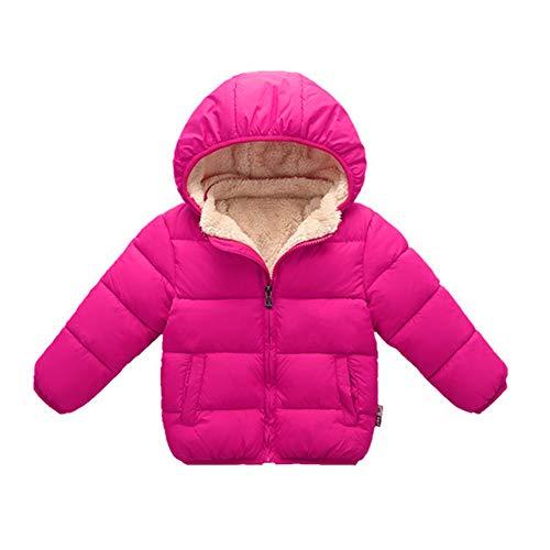Toddler Baby Hooded Down Jacket Boys Girls Kids Thicken Warm Winter Coat Outerwear 1-7t (Rose, 18-24 Months)